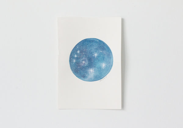 Original Blue Twinkle Moon Painting