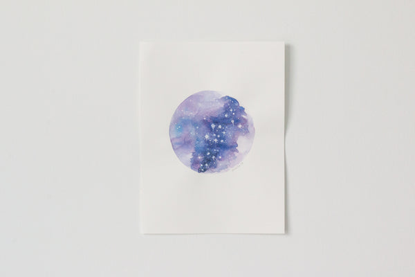 Original Purple Marble Moon Painting