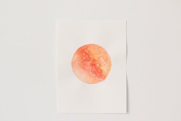 Original Orange Marble Moon Painting