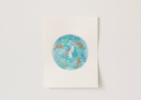 Original Turquoise Copper Moon Painting