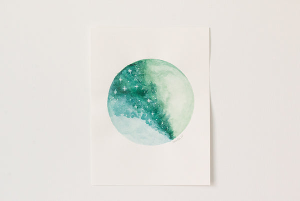 Original Light Green Moon Painting