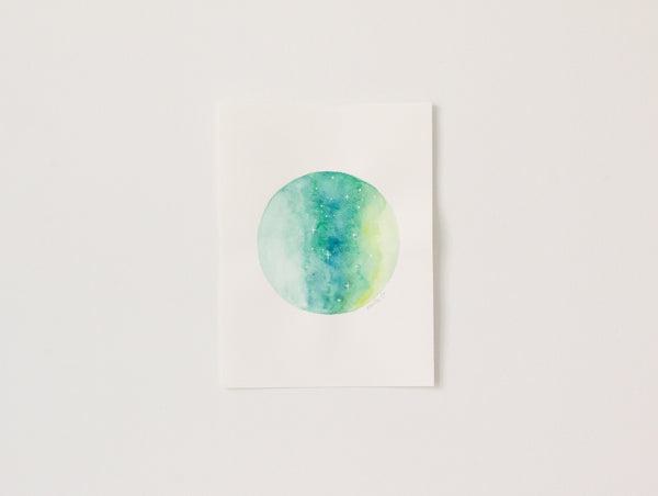 Original Lime Green-Blue Moon Painting