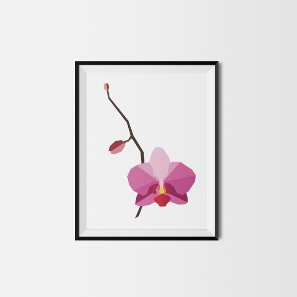 Geometric Orchid Flower Print