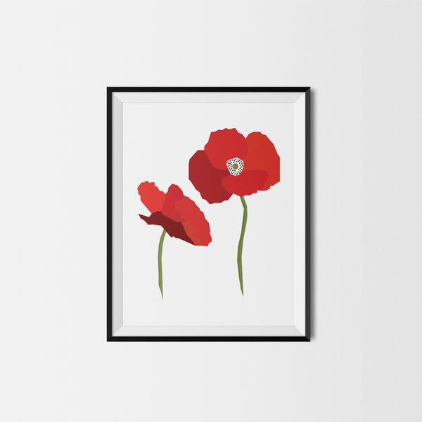 Geometric Poppy Flower Print