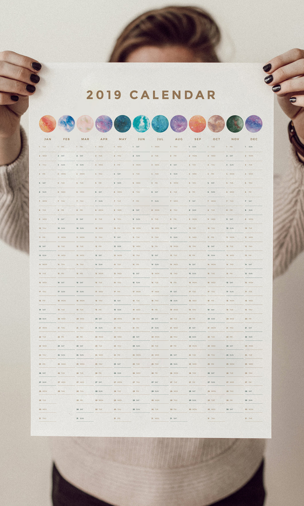 2019 Yearly Moon Calendar