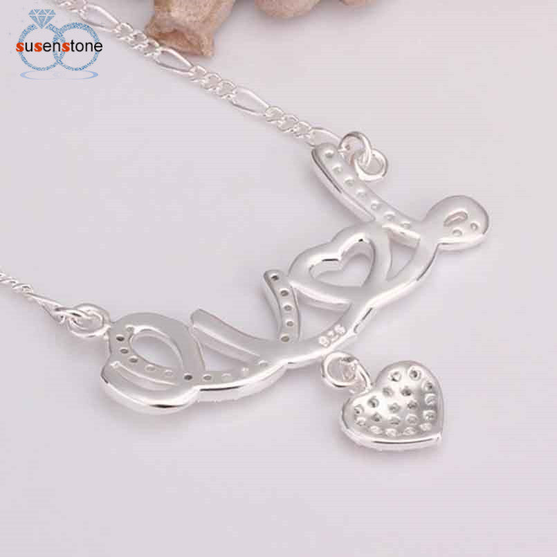 Silver crystal love heart pendant necklace bling sparkles silver crystal love heart pendant necklace mozeypictures Gallery