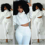 Women Long sleeve Turtleneck Collar Crop Top and Jumpsuit pants Two-piece Sets