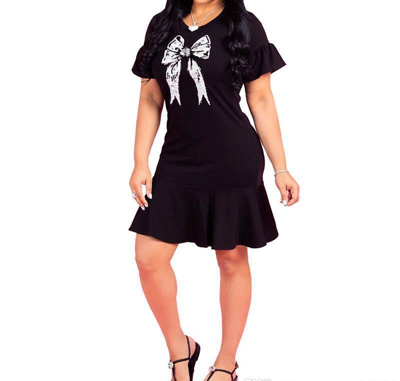 Womens V-neck ruffled casual dress