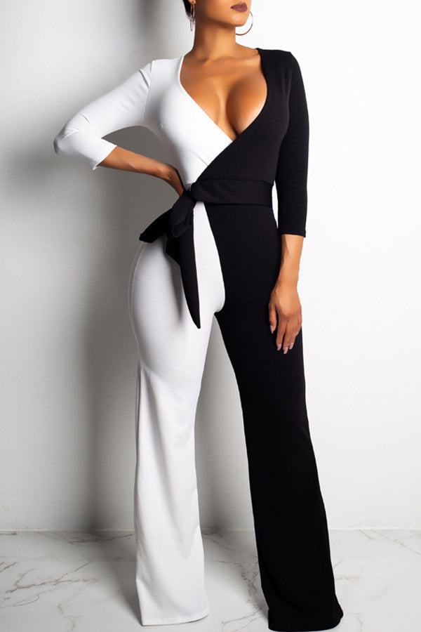 Two Color White/RoseRed long sleeve Jumpsuit