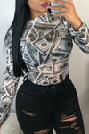 Cash Print long sleeve Twilled Satin Shirt