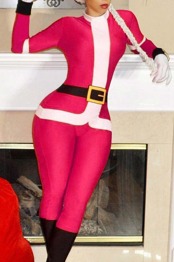 Santa Claus Rose Red long sleeve Jumpsuit