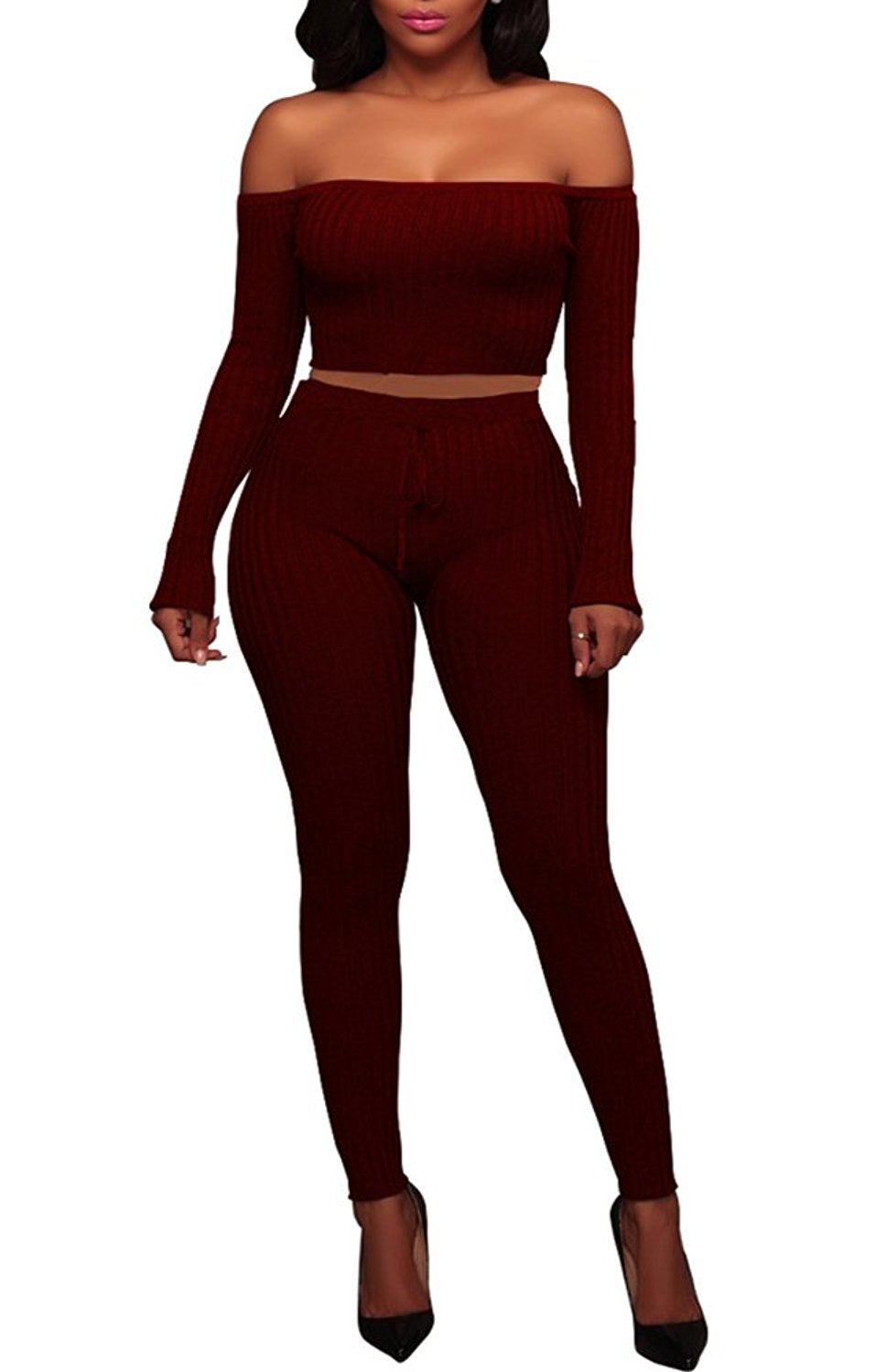 Women's Knitted Off Shoulder Crop Top Long Pants Set 2 Pieces Jumpsuits