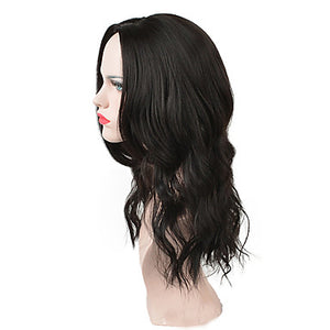 Women Medium Long Black Synthetic Heat Resistant Hair Middle Part Wig