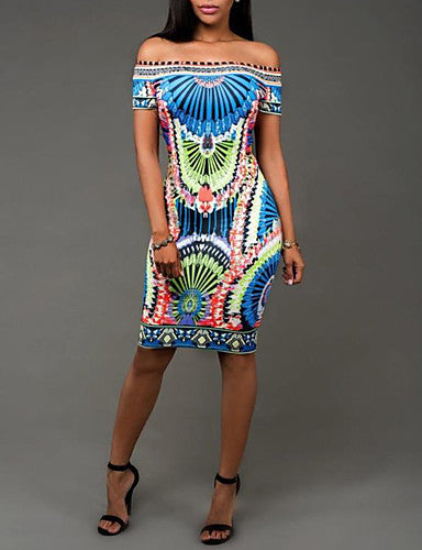 Women's Sexy Street chic Bodycon Print strapless Short Sleeves Knee-length Dress