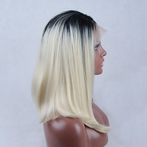 Synthetic Lace Front Wig Straight Bob Haircut Side Part Natural Hairline Dark Roots Ombre Hair Middle Part Bob Blonde Women's Lace Front