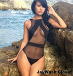 New Mesh Black One Piece Swimsuit