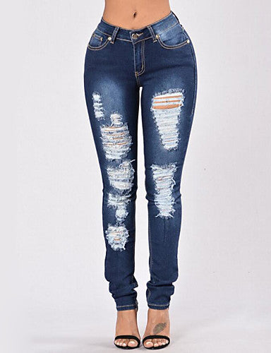 Women's High Rise Stretchy Skinny Polyester Jeans