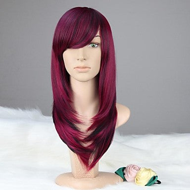 Women Capless Long Straight Purple & Black Synthetic Wig with Bang