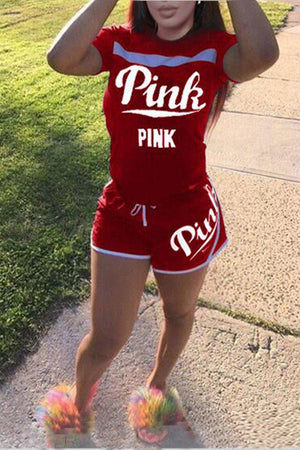 Love Pink Short Sleeve Tops T Shirt + Shorts