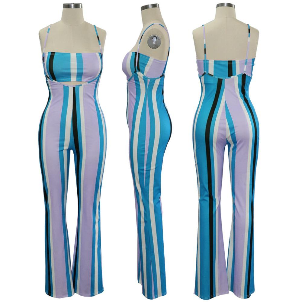 Women Crop Top suspender stripe pant two piece set