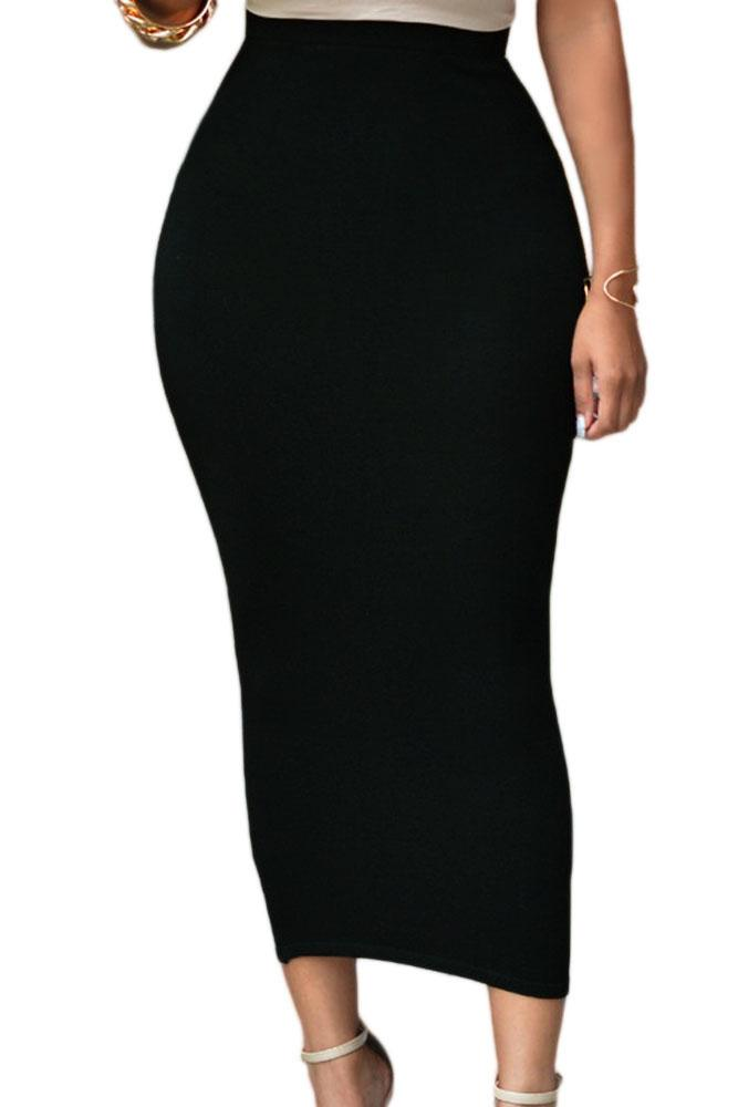 Women Solid high waist Black/Grey/Green Long stretchy Cotton Maxi Pencil Bodycon Skirt