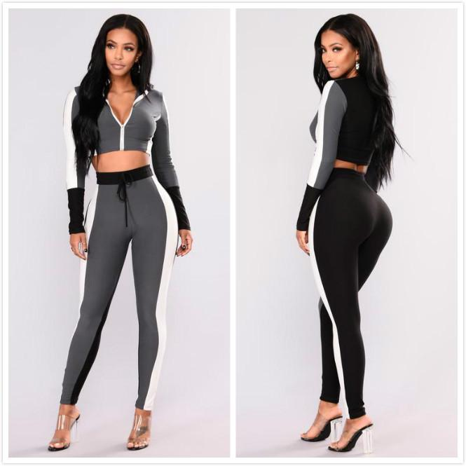 Crop Top Black and white Sport Suit