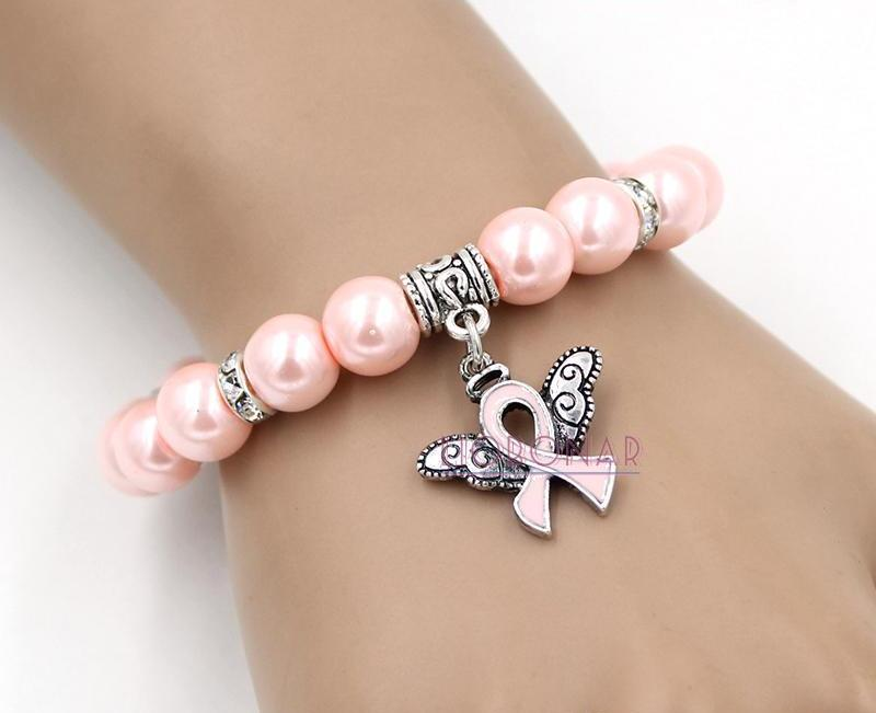 Pearl Bead Breast Cancer Awareness Bracelet with Angel Wings Pink Ribbon Charm