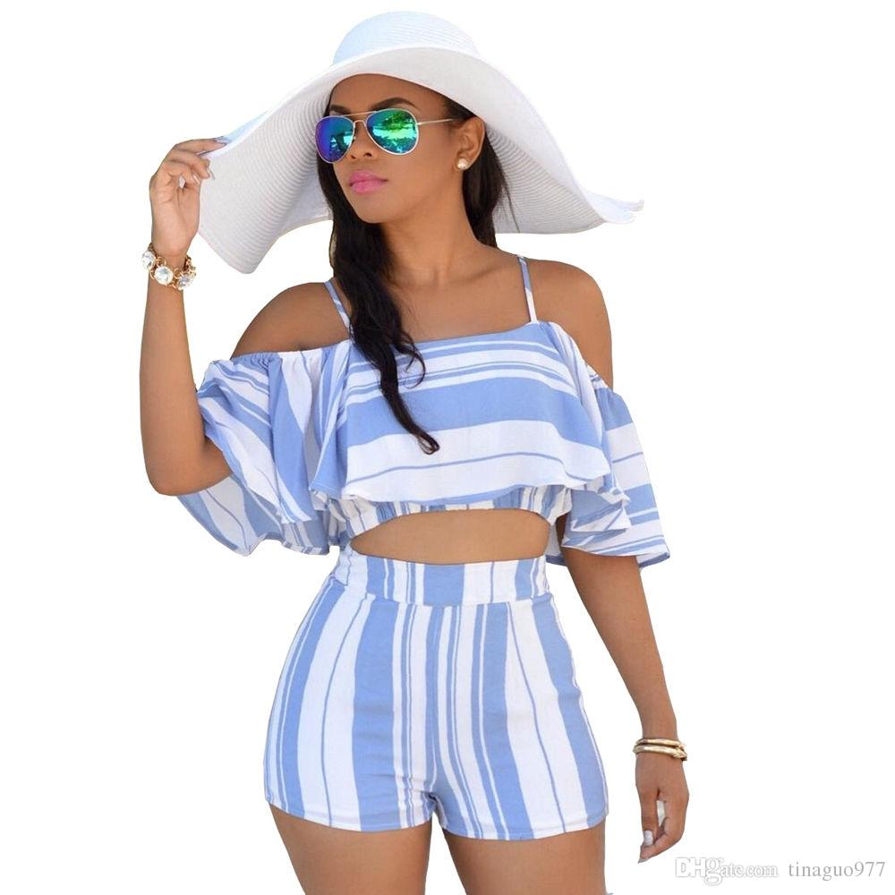 Women's 2 Piece Summer Striped Print Ruffle Crop Top and Shorts Set