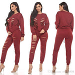 Women 2 Piece Long Sleeve Ripped Sexy Red Blue Hollow Out Destroyed Pants Sets