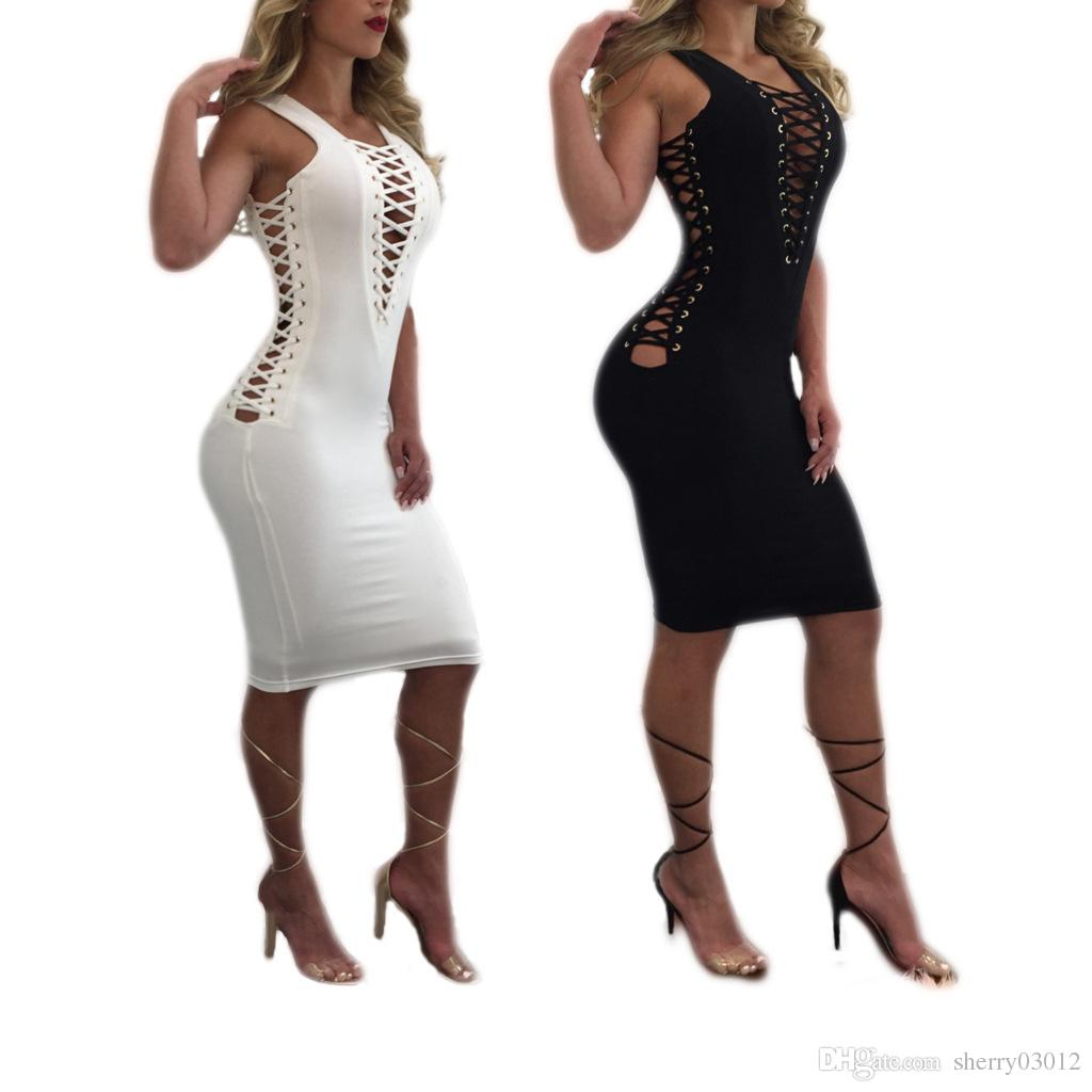 Women Black White criss cross hip V neck bodycon dress