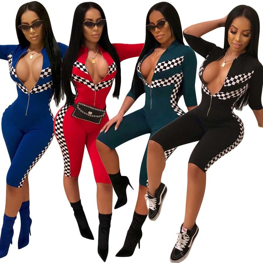 Women Half Sleeves Check Plaid bodycon Race Jumpsuit