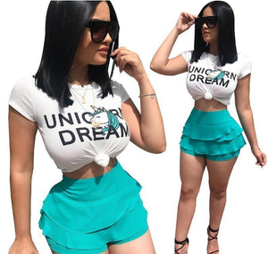 UNICORN T Shirt Top + Ruffle Shorts Set
