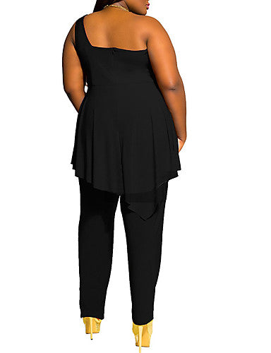Women's Sexy Plus size Solid black One shoulder Sleeveless polyester Jumpsuits