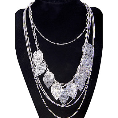 Women's Layered Leaf Tassel Necklace