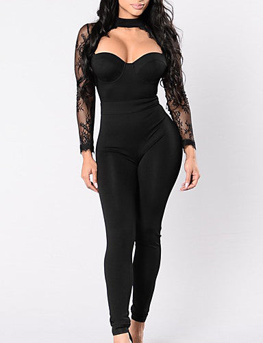 Cute Sexy black Crew Neck Jumpsuit