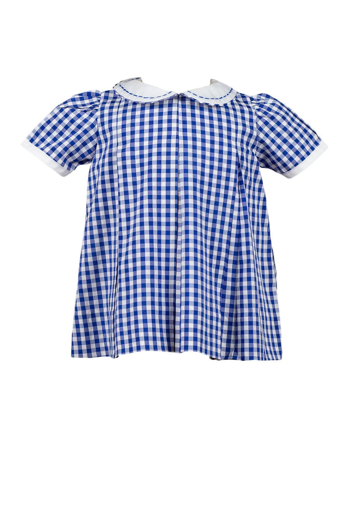 Blue Gingham Pleat Dress