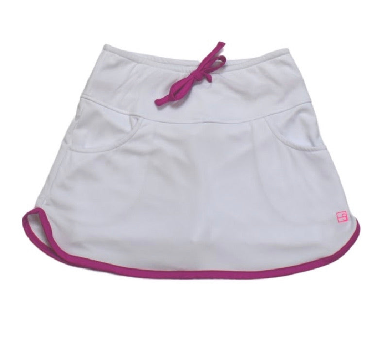 Tiffany Tennis Skort (White/Fuchsia)