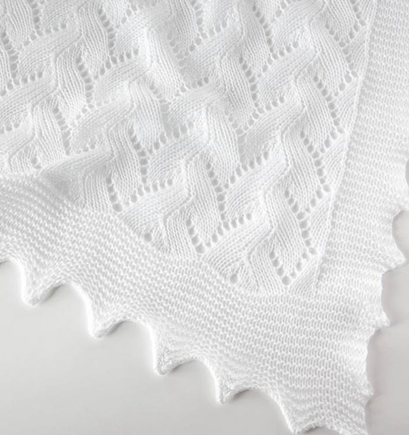 White Lacy Cotton Baby Shawl