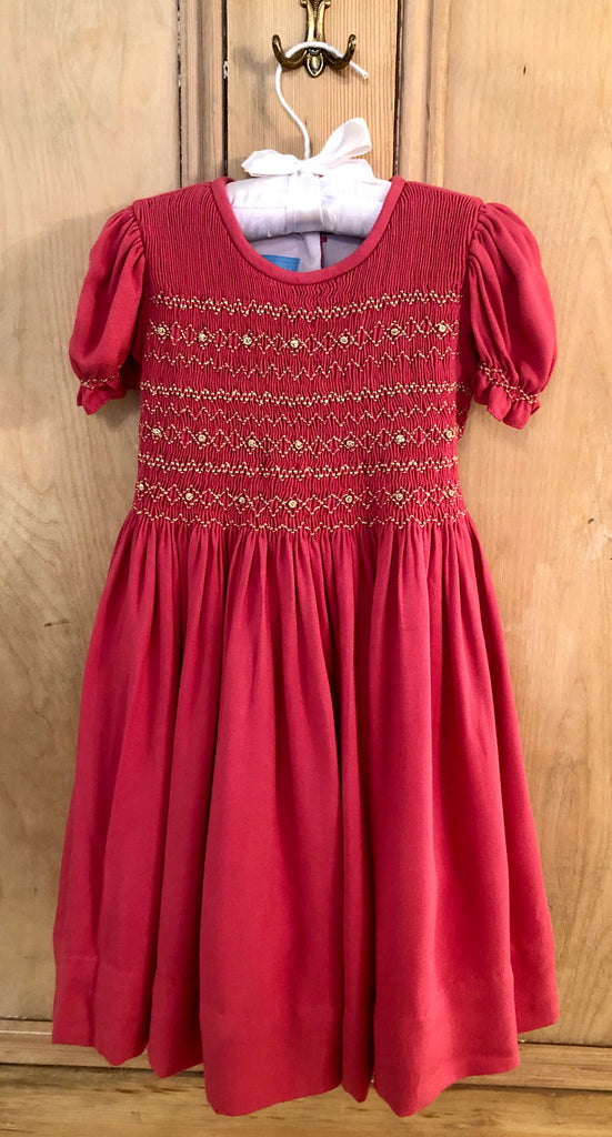Raspberry Gold Smocked Dress