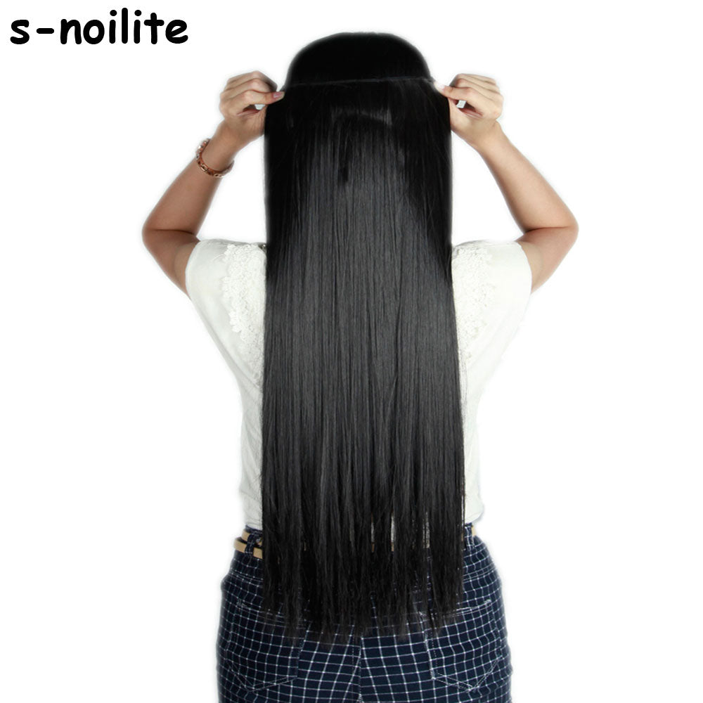 58 76cm Straight Women Clip In On Hair Extensions 34 Full One Piece