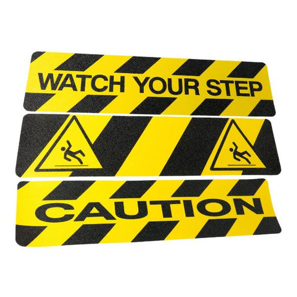 "Non-Slip Caution Step Treads 6"" x 24""  – Watch Your Step!"