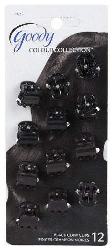 Goody Color Collection Claw Clip Black Mini - 12 Count