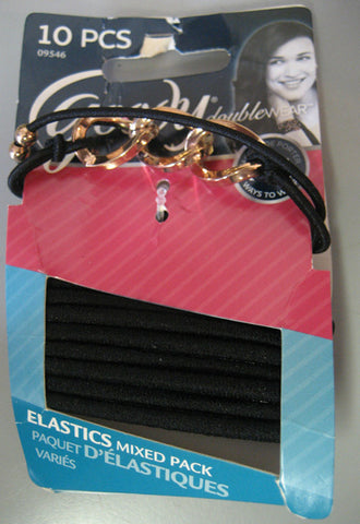 Goody Double Wear Hair Elastics Mixed Pack with Gold Beading