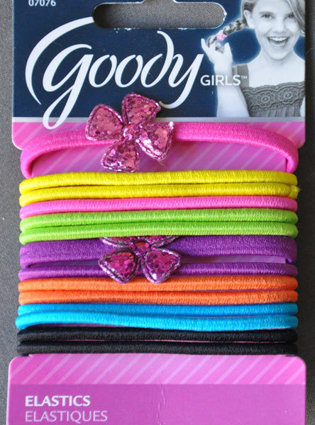 Goody Girls Ouchless Large Elastics 4mm Mixed Colors with Flower - 14 Count