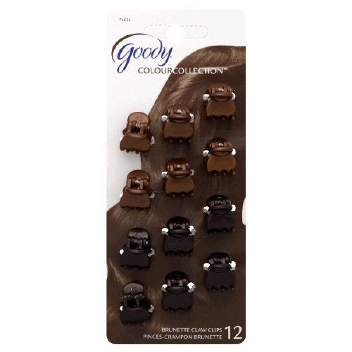 Goody Color Collection Mini Claw Clips Brunette - 12 Count