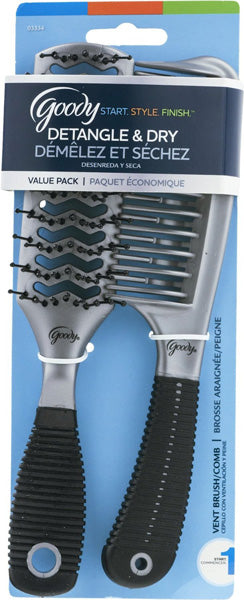 Goody Detangle & Dry Vent Brush/Comb - 2 Pieces
