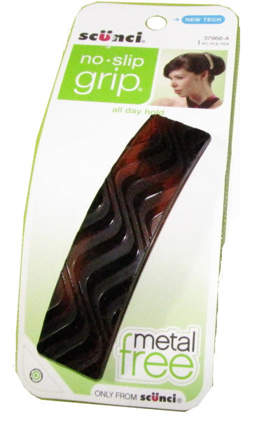 Scunci No-Slip Grip No Metal Large Barrette Brown Wave - 1 Pack