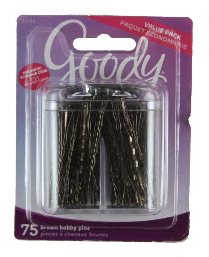 Goody Brown Bobby Pins in Magnetic Box - 75 Count