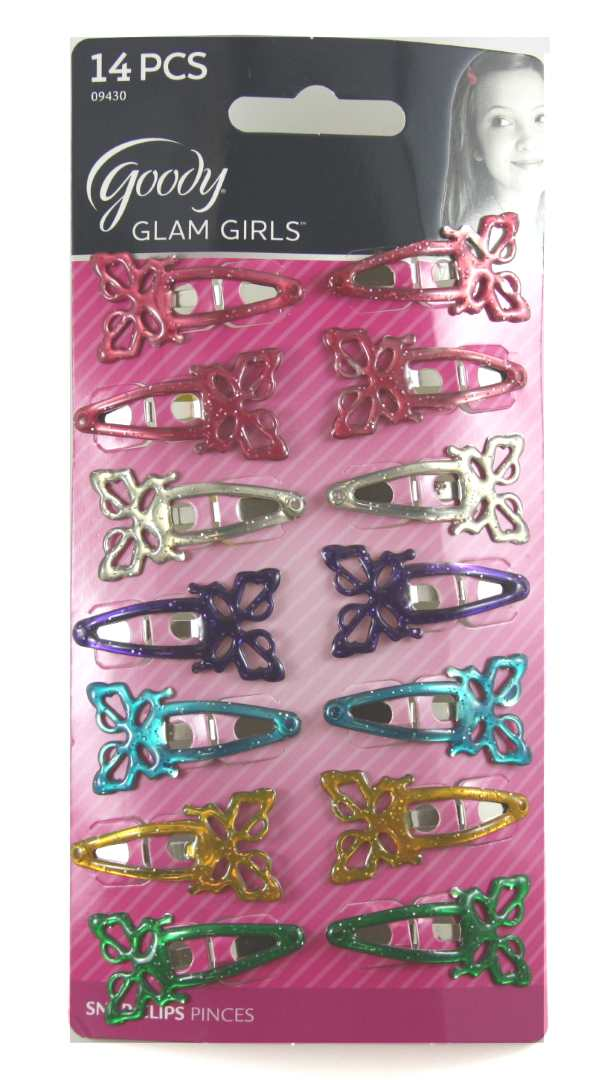 Goody Butterfly Contour Clips for Girls Assorted Colors - 14 Clips