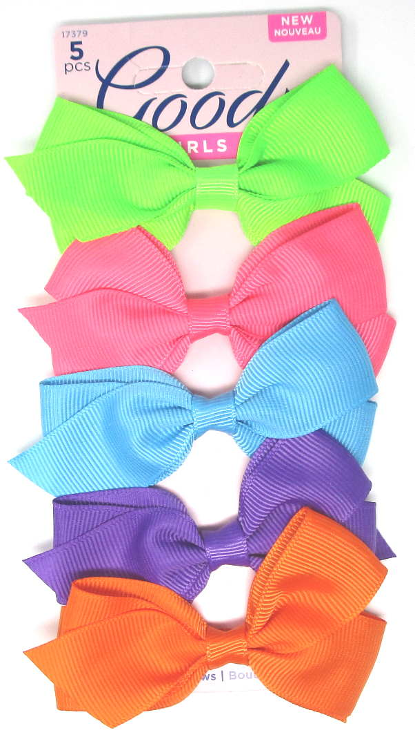 "Goody Girls Cute Neon Bow Barrettes 3"" - 5 Piece"